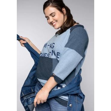 Sweatshirt im Colorblocking-Look, azurblau, Gr.44/46-56/58