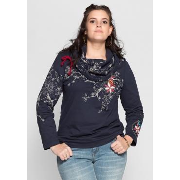 Sweatshirt im floralen Design, dunkelblau bedruckt, Gr.40/42-56/58