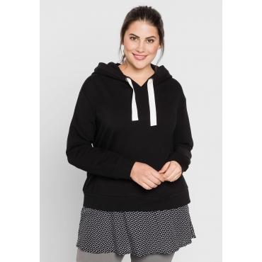 Sweatshirt im Lagenlook, schwarz, Gr.44/46-56/58