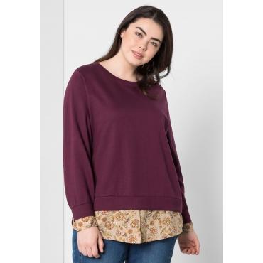 Sweatshirt in 2-in-1-Optik, aubergine, Gr.44/46-56/58
