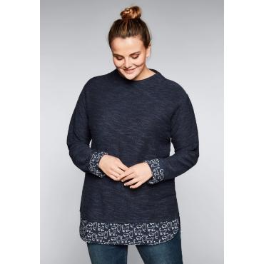 Sweatshirt in 2-in-1-Optik, marine, Gr.44/46-56/58