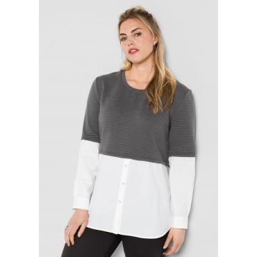 Sweatshirt in 2-in-1-Optik, rauchgrau, Gr.44/46-56/58