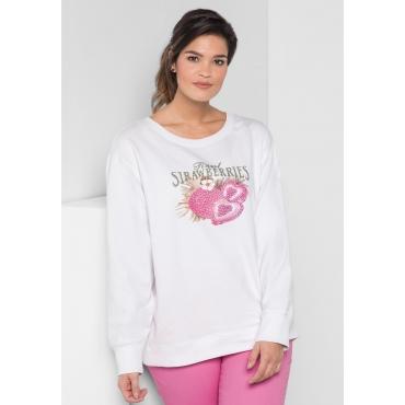 Sweatshirt in Oversize-Form mit Frontdruck, weiß, Gr.40/42-56/58