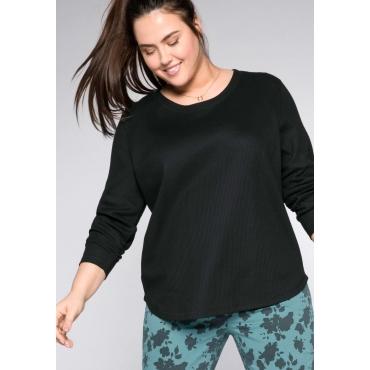 Sweatshirt in Waffelpiqué-Optik, schwarz, Gr.44/46-56/58