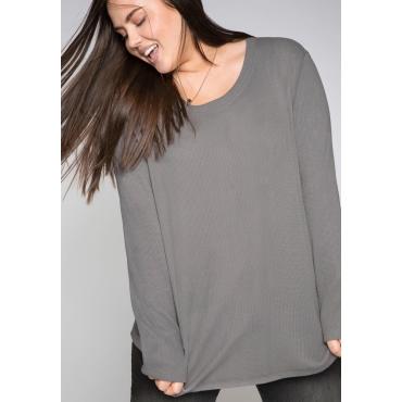 Sweatshirt in Waffelpiqué-Optik, steingrau, Gr.44/46-56/58