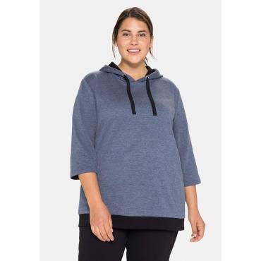 Sweatshirt mit 3/4-Ärmel und Kontrastdetails, indigo meliert, Gr.40/42-56/58