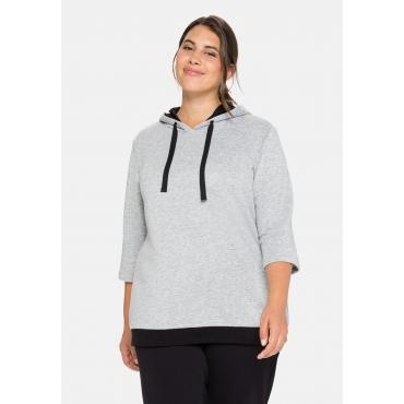 Sweatshirt mit 3/4-Ärmel und Kontrastdetails, steingrau meliert, Gr.40/42-56/58