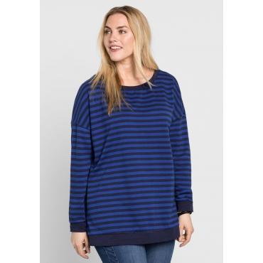 Sweatshirt mit Allover-Streifendruck, marine-royalblau, Gr.44/46-56/58