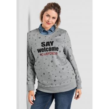 Sweatshirt mit Alloverdruck, grau meliert, Gr.40/42-56/58