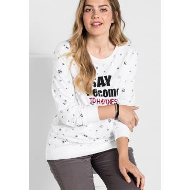 Sweatshirt mit Alloverdruck, weiß, Gr.40/42-56/58