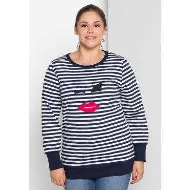 Sweatshirt mit Applikation, marine-weiß, Gr.40/42-56/58