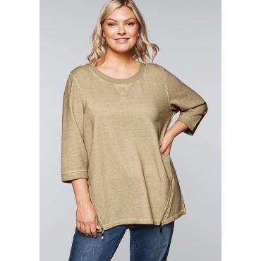Sweatshirt mit breit eingefasstem, runden Ausschnitt, camelfarben, Gr.44/46-56/58