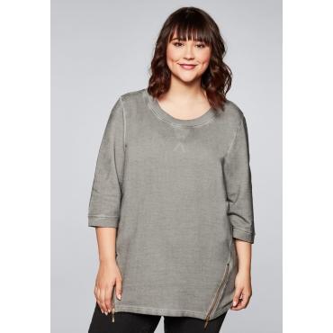 Sweatshirt mit breit eingefasstem, runden Ausschnitt, steingrau, Gr.44/46-56/58