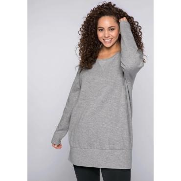 Sweatshirt mit breitem Saumbündchen, grau meliert-rot, Gr.44/46-56/58
