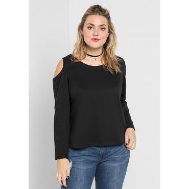 Sweatshirt mit Cut-Outs an den Schultern, schwarz, Gr.40/42-56/58