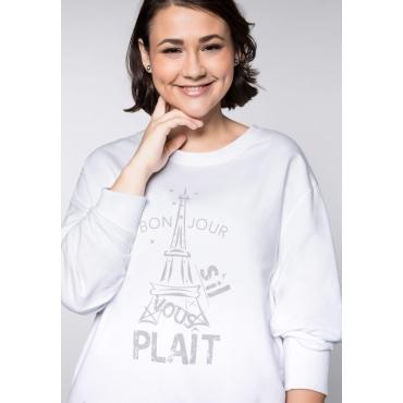Sweatshirt mit Eiffelturmdruck und Bindeband, weiß, Gr.44/46-56/58