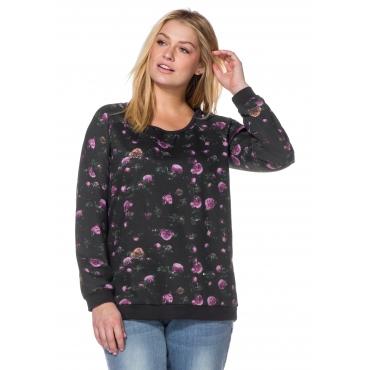 Sweatshirt mit floralem Alloverdruck, anthrazit bedruckt, Gr.40/42-56/58