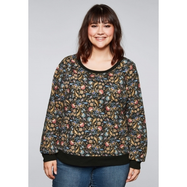 Sweatshirt mit floralem Alloverdruck, schwarz, Gr.44/46-56/58