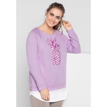 Sweatshirt mit Frontdruck, pastellflieder, Gr.40/42-56/58