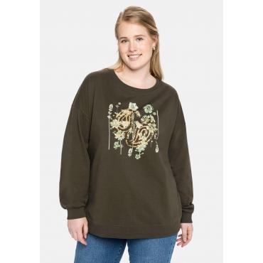 Sweatshirt mit Frontdruck und Rundhalsausschnitt, dunkeloliv, Gr.40/42-56/58
