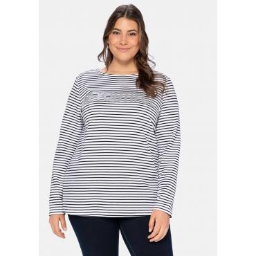 Sweatshirt mit Glitzerdruck und Ringeln, weiß-schwarz, Gr.40/42-56/58