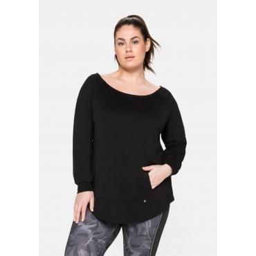 Sweatshirt mit Kängurutasche, aus Funktionsmaterial, schwarz, Gr.40/42-56/58