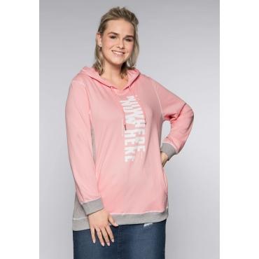 Sweatshirt mit kontrastfarbenen Details, rosenquartz, Gr.44/46-56/58