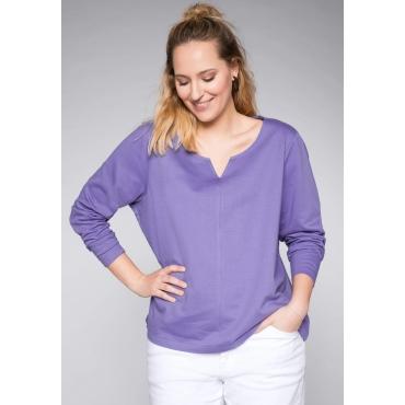 Sweatshirt mit längerer Rückenpartie und Teilungsnaht, helllila, Gr.44/46-56/58