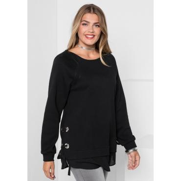 Sweatshirt mit Ösen und Schnürung, schwarz, Gr.40/42-56/58