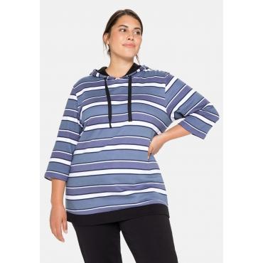 Sweatshirt mit Ringeln, Kapuze und 3/4-Arm, marine gestreift, Gr.40/42-56/58