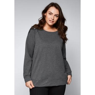 Sweatshirt mit Schulterapplikation, dunkelgrau meliert, Gr.44/46-56/58