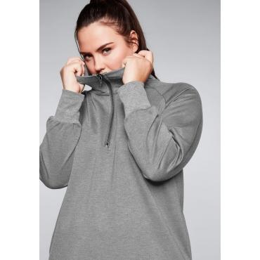 Sweatshirt mit seitlichen Schlitzen, grau meliert, Gr.44/46-56/58