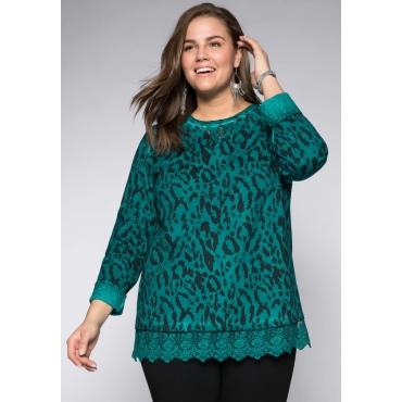 Sweatshirt mit Spitzeneinsätzen, smaragd, Gr.44/46-56/58