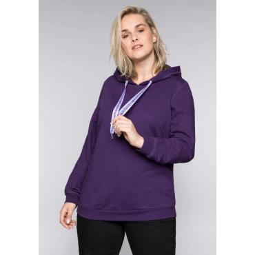 Sweatshirt mit Statement-Bindeband, lila, Gr.44/46-56/58