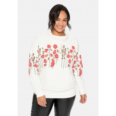 Sweatshirt mit Stehkragen und floralem 3D-Druck, offwhite bedruckt, Gr.40/42-56/58