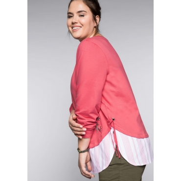 Sweatshirt mit Stickerei und Rippbündchen, korallrot, Gr.44/46-56/58