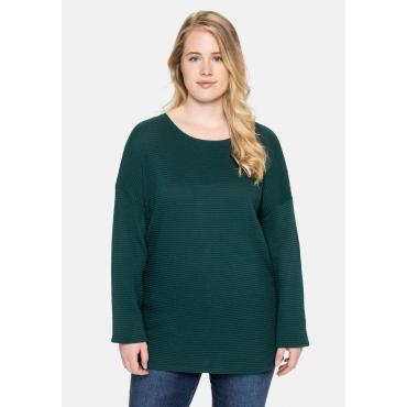 Sweatshirt mit U-Boot-Ausschnitt, in Strukturqualität, tiefgrün, Gr.40/42-56/58
