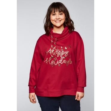 Sweatshirt mit weihnachtlichem Motiv, karminrot, Gr.44/46-56/58