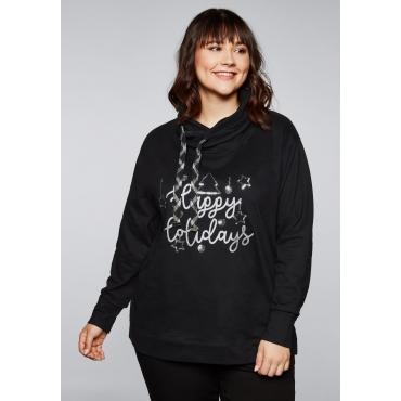Sweatshirt mit weihnachtlichem Motiv, schwarz, Gr.44/46-56/58