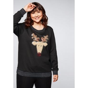 Sweatshirt mit weihnachtlichem Rentier-Motiv, schwarz, Gr.44/46-56/58