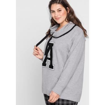 Sweatshirt mit weitem Kragen, grau meliert, Gr.44/46-56/58