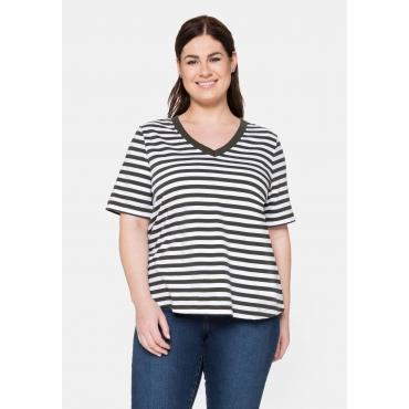 T-Shirt aus Jersey, mit Ringeln und V-Ausschnitt, dunkeloliv, Gr.40/42-56/58