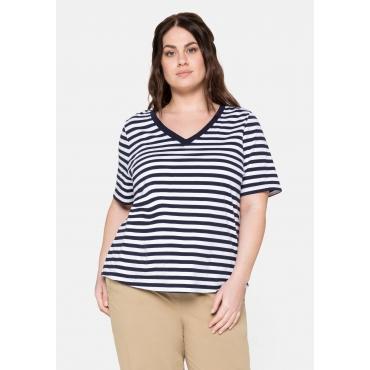 T-Shirt aus Jersey, mit Ringeln und V-Ausschnitt, marine, Gr.40/42-56/58