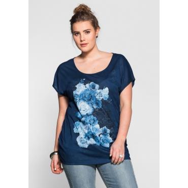 T-Shirt im Materialmix, marine, Gr.40/42-56/58