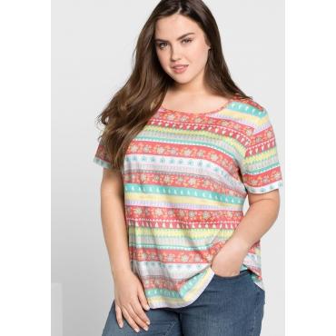 T-Shirt in A-Linie mit Alloverdruck, weiß bedruckt, Gr.44/46-56/58