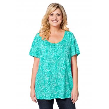 T-Shirt in Ausbrenner-Qualität, aqua, Gr.40/42-56/58