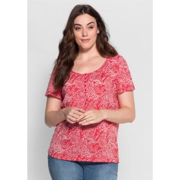 T-Shirt in Ausbrenner-Qualität, hibiskus, Gr.40/42-56/58