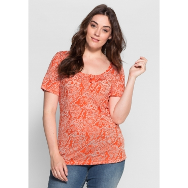 T-Shirt in Ausbrenner-Qualität, mandarine, Gr.40/42-56/58