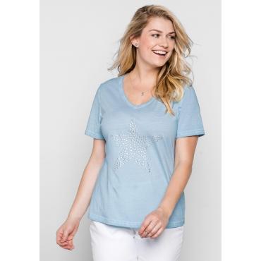 T-Shirt in Oil-washed-Optik, pastellblau, Gr.44/46-56/58