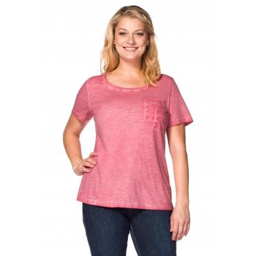 T-Shirt in Oil-washed-Optik, wüstenrose, Gr.40/42-56/58